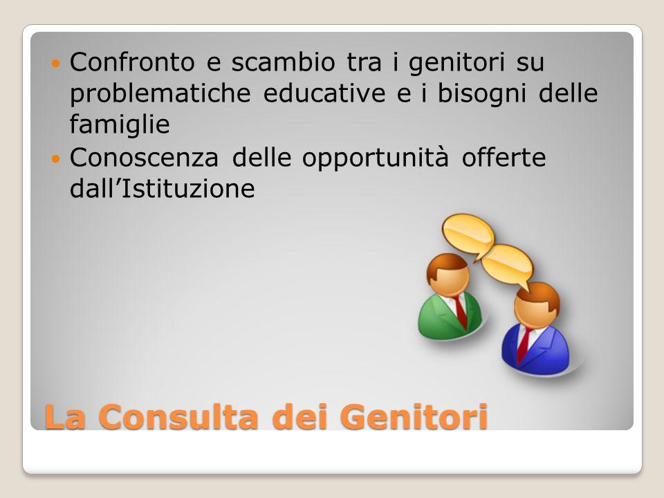 La Consulta dei Genitori Confronto e scambio tra i genitori su problematiche educative e i bisogni delle famiglie Conoscenza delle opportunità offerte dall'Istituzione