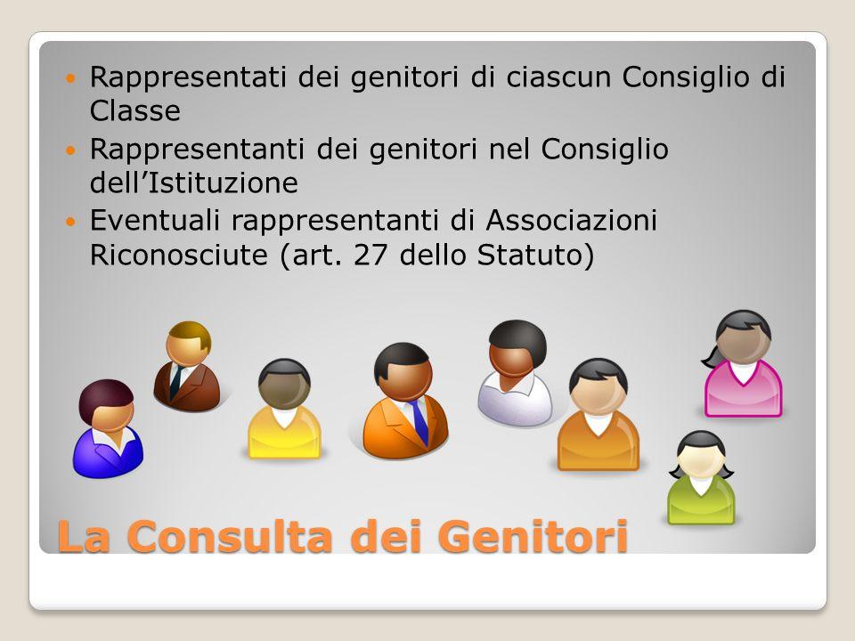 La Consulta dei Genitori Rappresentati dei genitori di ciascun Consiglio di Classe Rappresentanti dei genitori nel Consiglio dell'Istituzione Eventuali rappresentanti di Associazioni Riconosciute (art.