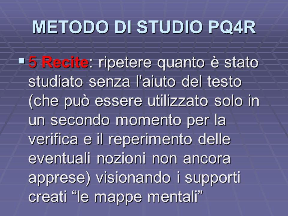 METODO DI STUDIO PQ4R  5 Recite: ripetere quanto è stato studiato senza l'aiuto del testo (che può essere utilizzato solo in un secondo momento per l