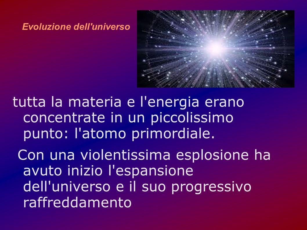 Evoluzione dell'universo tutta la materia e l'energia erano concentrate in un piccolissimo punto: l'atomo primordiale. Con una violentissima esplosion