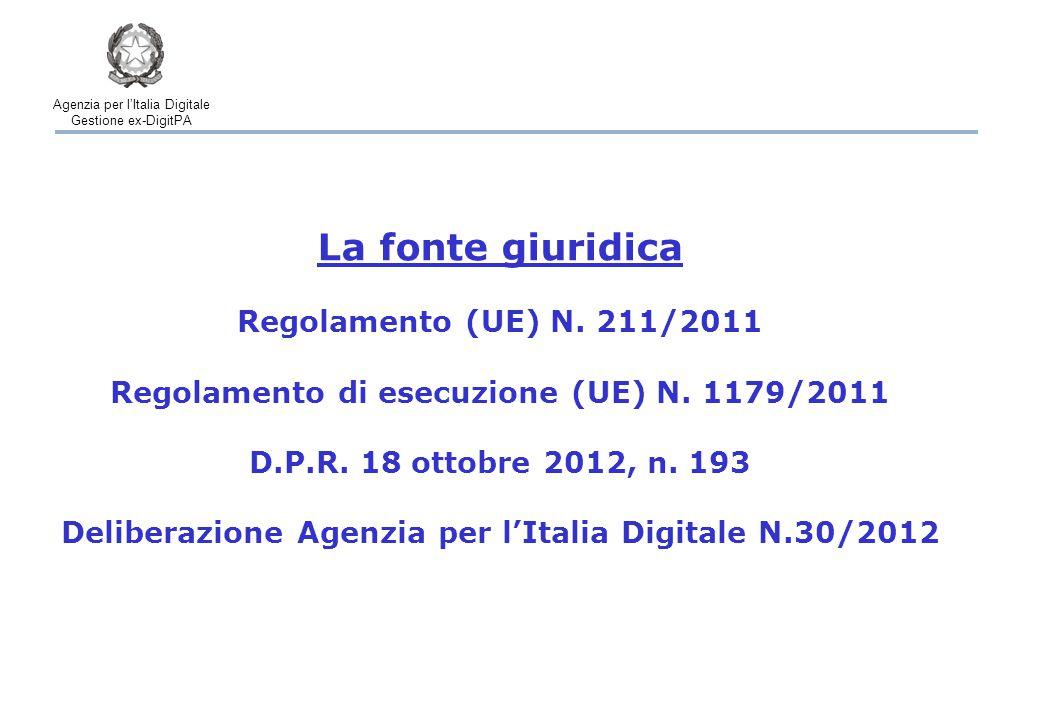 Agenzia per l'Italia Digitale Gestione ex-DigitPA La procedura – Tempi Registrazione dell'iniziativa Certificazione sistema raccolta per via elettronica Raccolta delle dichiarazioni di sostegno on-line Verifica delle dichiarazioni di sostegno 2 mesi 1 mese 3 mesi Raccolta delle dichiarazioni di sostegno su carta 12 mesi Almeno 11 mesi