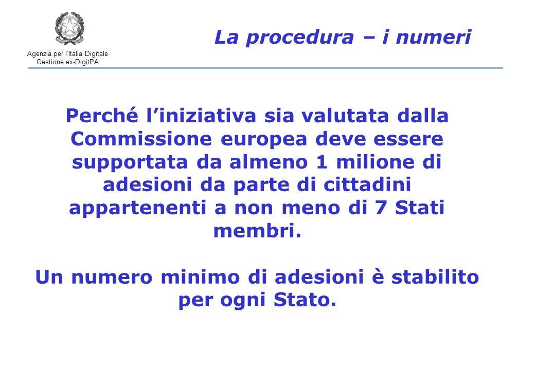 Agenzia per l'Italia Digitale Gestione ex-DigitPA La procedura – i numeri Perché l'iniziativa sia valutata dalla Commissione europea deve essere supportata da almeno 1 milione di adesioni da parte di cittadini appartenenti a non meno di 7 Stati membri.