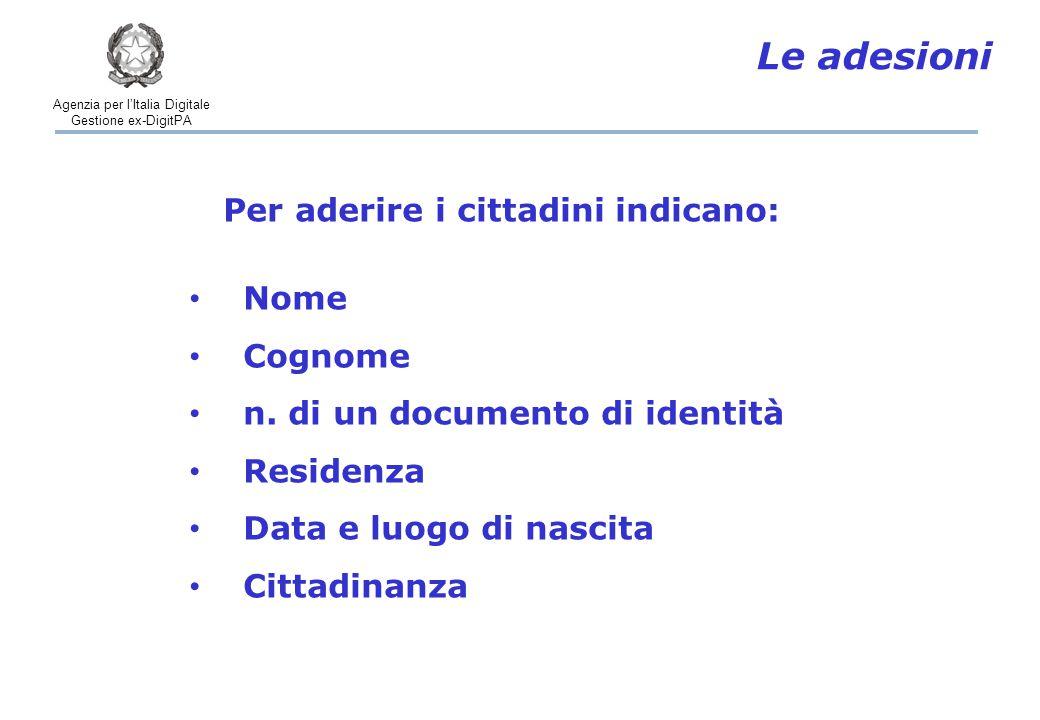 Agenzia per l'Italia Digitale Gestione ex-DigitPA Le adesioni