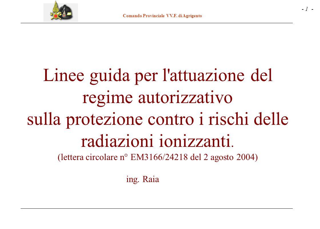 - 1 - Comando Provinciale VV.F. di Agrigento Linee guida per l'attuazione del regime autorizzativo sulla protezione contro i rischi delle radiazioni i