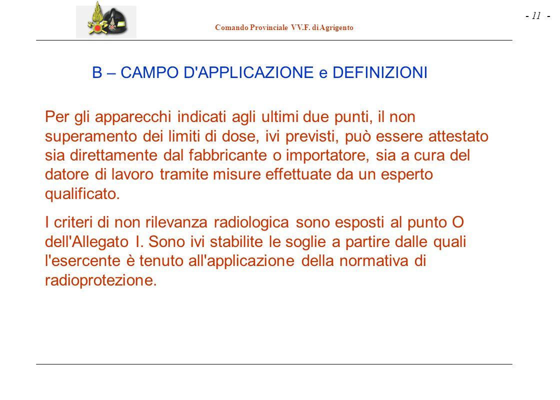 - 11 - Comando Provinciale VV.F. di Agrigento Per gli apparecchi indicati agli ultimi due punti, il non superamento dei limiti di dose, ivi previsti,