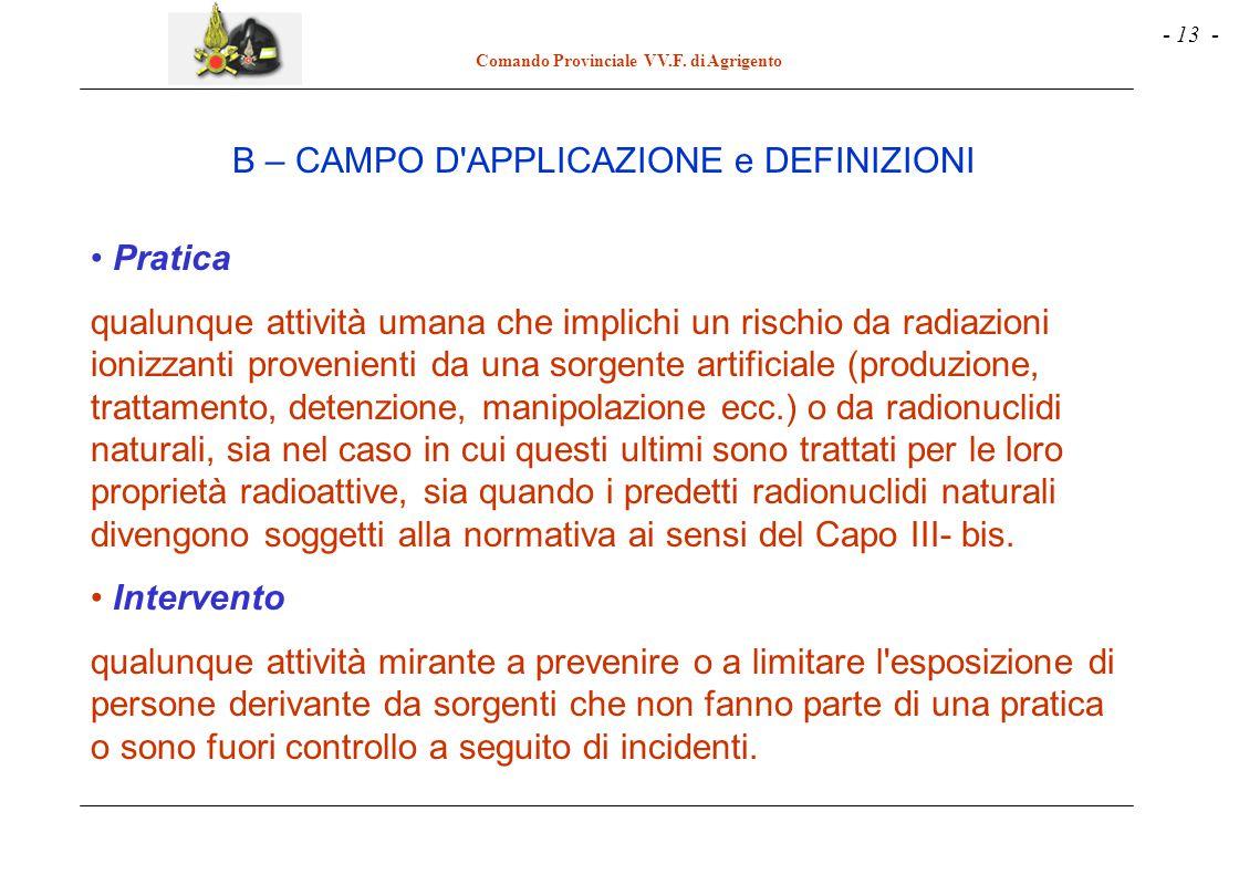 - 13 - Comando Provinciale VV.F. di Agrigento Pratica qualunque attività umana che implichi un rischio da radiazioni ionizzanti provenienti da una sor