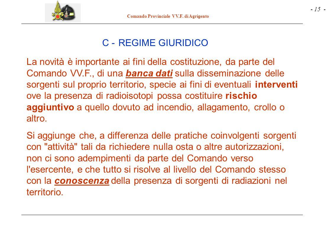 - 15 - Comando Provinciale VV.F. di Agrigento La novità è importante ai fini della costituzione, da parte del Comando VV.F., di una banca dati sulla d