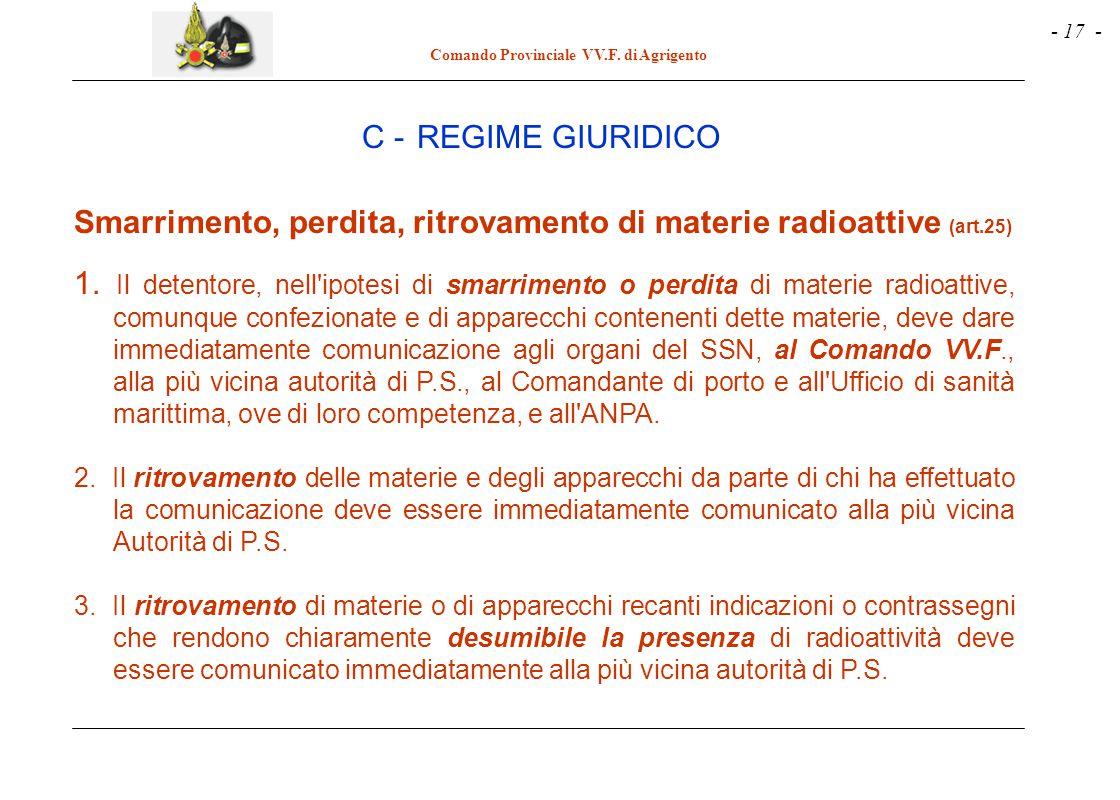 - 17 - Comando Provinciale VV.F. di Agrigento Smarrimento, perdita, ritrovamento di materie radioattive (art.25) 1. Il detentore, nell'ipotesi di smar