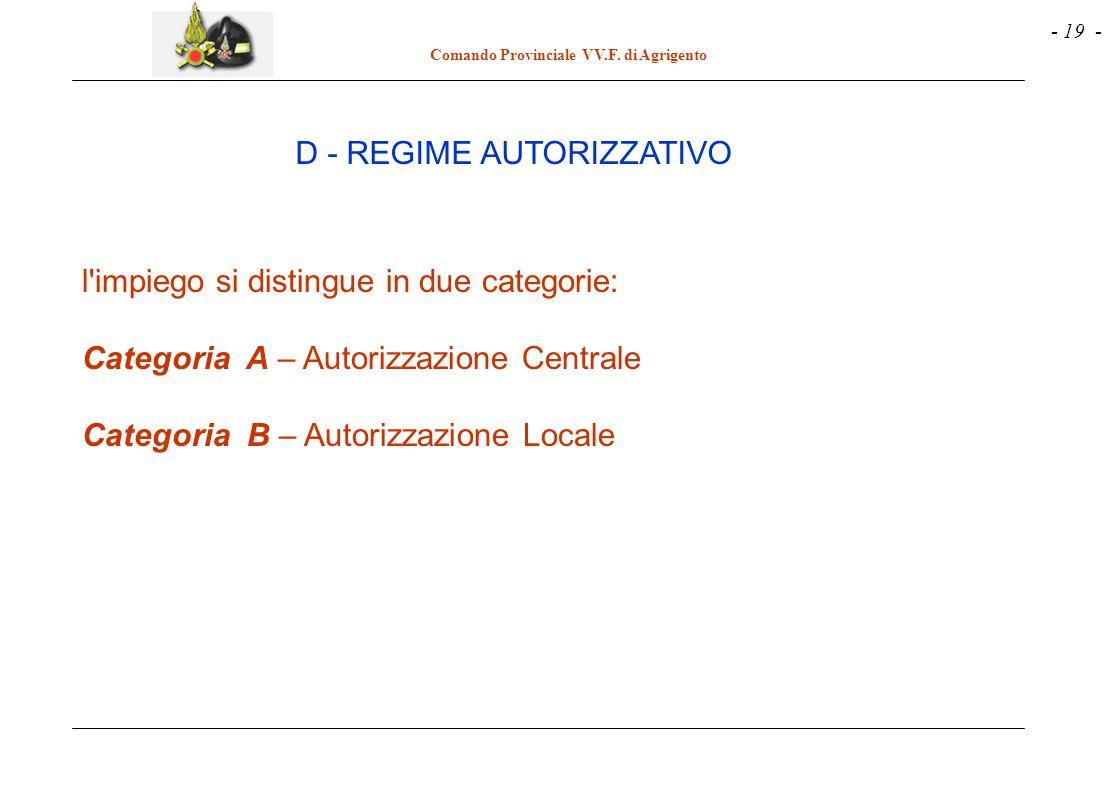 - 19 - Comando Provinciale VV.F. di Agrigento l'impiego si distingue in due categorie: Categoria A – Autorizzazione Centrale Categoria B – Autorizzazi