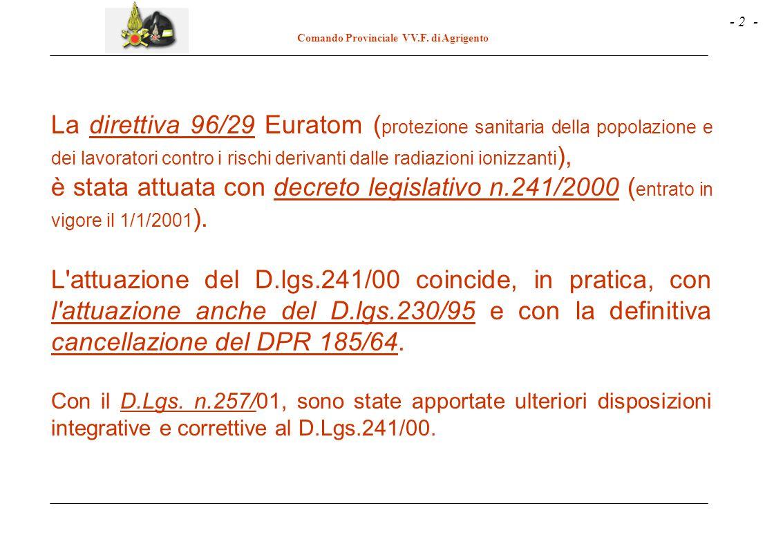 - 2 - Comando Provinciale VV.F. di Agrigento La direttiva 96/29 Euratom ( protezione sanitaria della popolazione e dei lavoratori contro i rischi deri