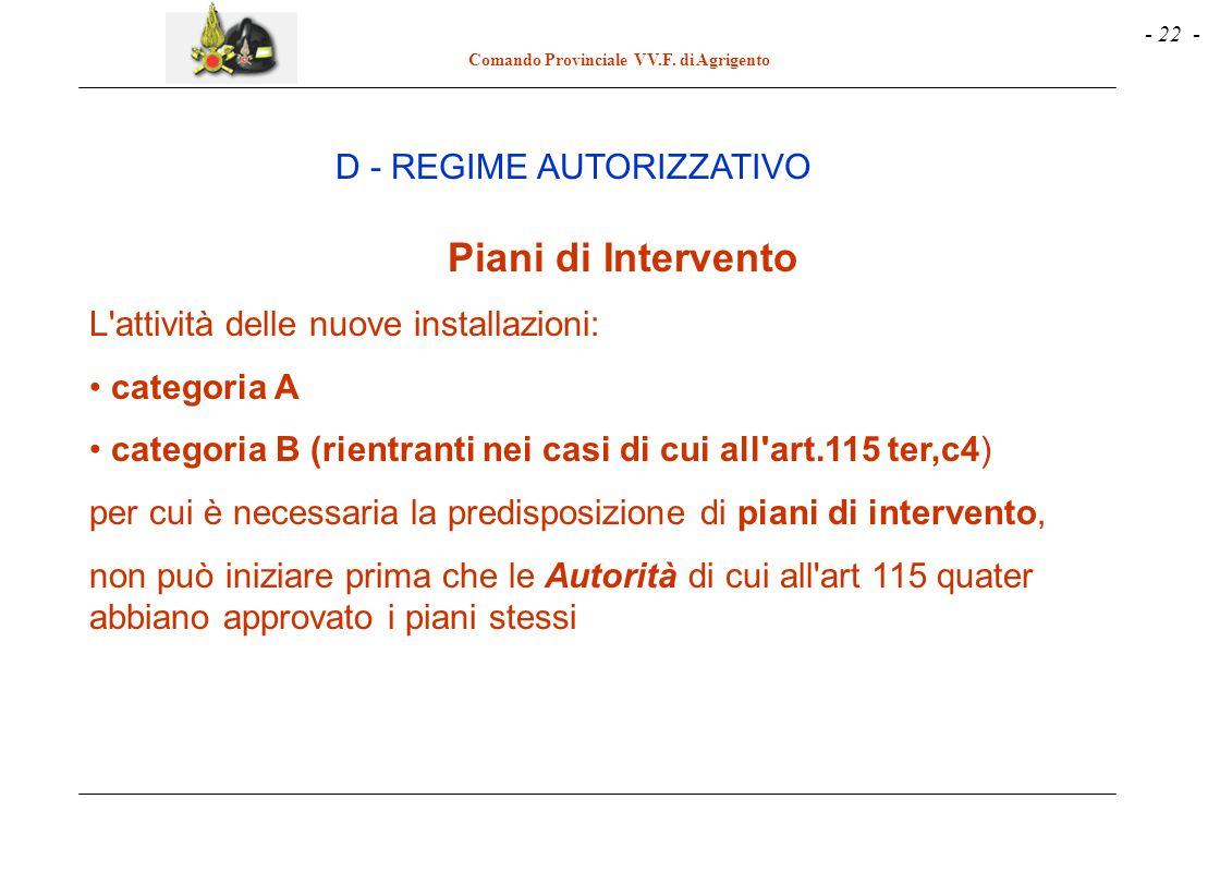 - 22 - Comando Provinciale VV.F. di Agrigento Piani di Intervento L'attività delle nuove installazioni: categoria A categoria B (rientranti nei casi d