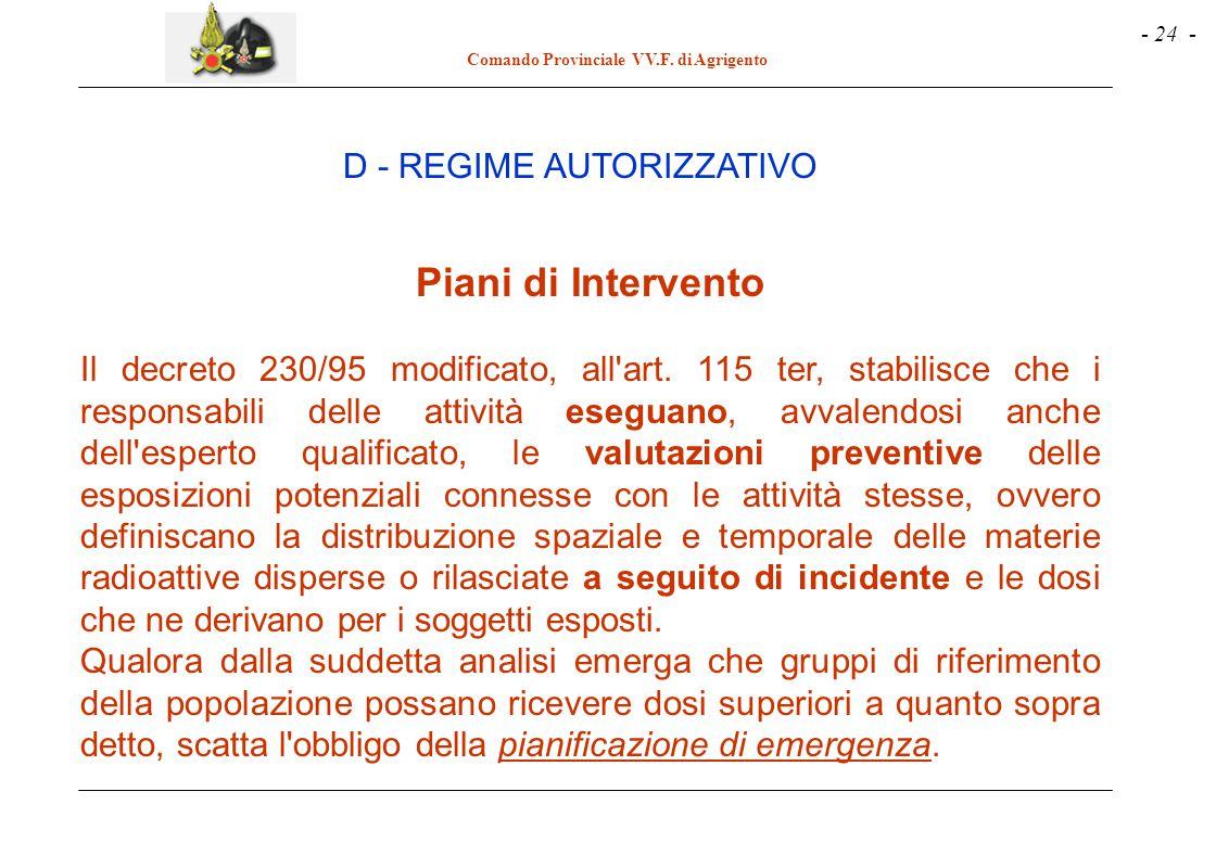 - 24 - Comando Provinciale VV.F. di Agrigento Piani di Intervento Il decreto 230/95 modificato, all'art. 115 ter, stabilisce che i responsabili delle