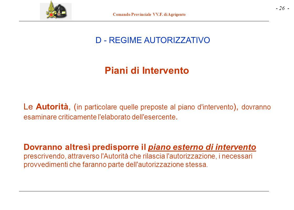 - 26 - Comando Provinciale VV.F. di Agrigento Piani di Intervento Le Autorità, ( in particolare quelle preposte al piano d'intervento ), dovranno esam