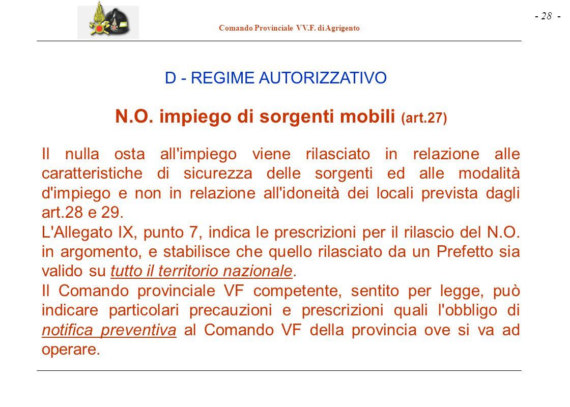 - 28 - Comando Provinciale VV.F. di Agrigento N.O. impiego di sorgenti mobili (art.27) Il nulla osta all'impiego viene rilasciato in relazione alle ca