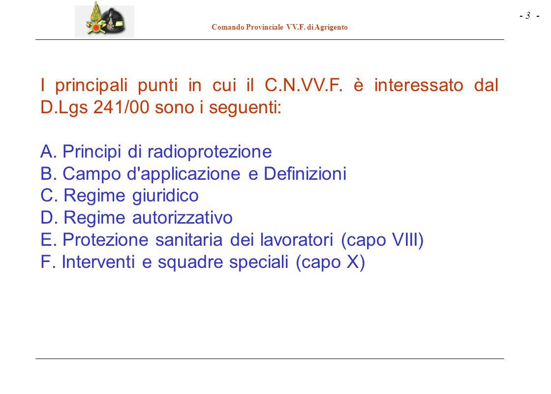 - 3 - Comando Provinciale VV.F. di Agrigento I principali punti in cui il C.N.VV.F. è interessato dal D.Lgs 241/00 sono i seguenti: A. Principi di rad