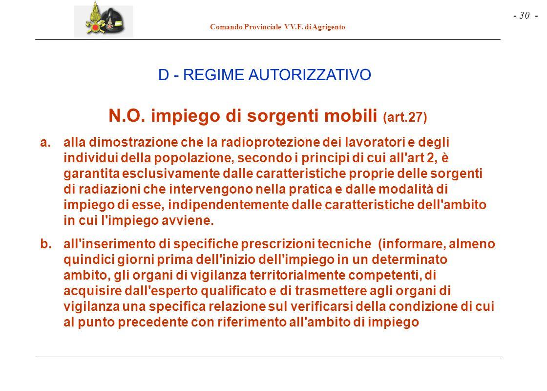 - 30 - Comando Provinciale VV.F. di Agrigento D - REGIME AUTORIZZATIVO N.O. impiego di sorgenti mobili (art.27) a.alla dimostrazione che la radioprote