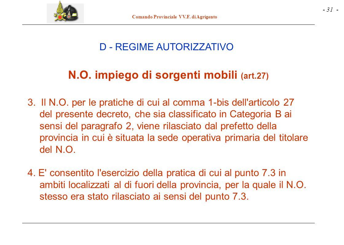 - 31 - Comando Provinciale VV.F. di Agrigento D - REGIME AUTORIZZATIVO N.O. impiego di sorgenti mobili (art.27) 3. Il N.O. per le pratiche di cui al c