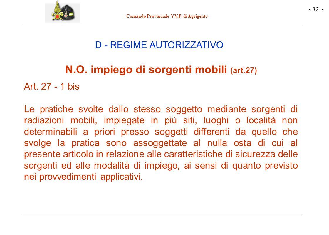 - 32 - Comando Provinciale VV.F. di Agrigento N.O. impiego di sorgenti mobili (art.27) Art. 27 - 1 bis Le pratiche svolte dallo stesso soggetto median