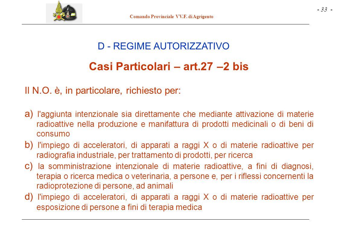 - 33 - Comando Provinciale VV.F. di Agrigento D - REGIME AUTORIZZATIVO Casi Particolari – art.27 –2 bis Il N.O. è, in particolare, richiesto per: a) l