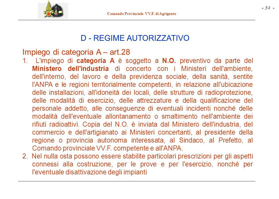 - 34 - Comando Provinciale VV.F. di Agrigento Impiego di categoria A – art.28 1. L'impiego di categoria A è soggetto a N.O. preventivo da parte del Mi