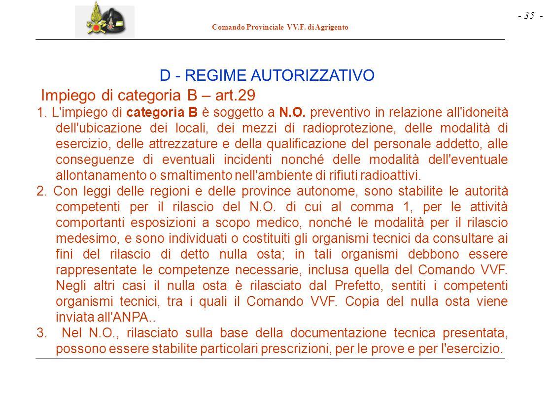 - 35 - Comando Provinciale VV.F. di Agrigento Impiego di categoria B – art.29 1. L'impiego di categoria B è soggetto a N.O. preventivo in relazione al