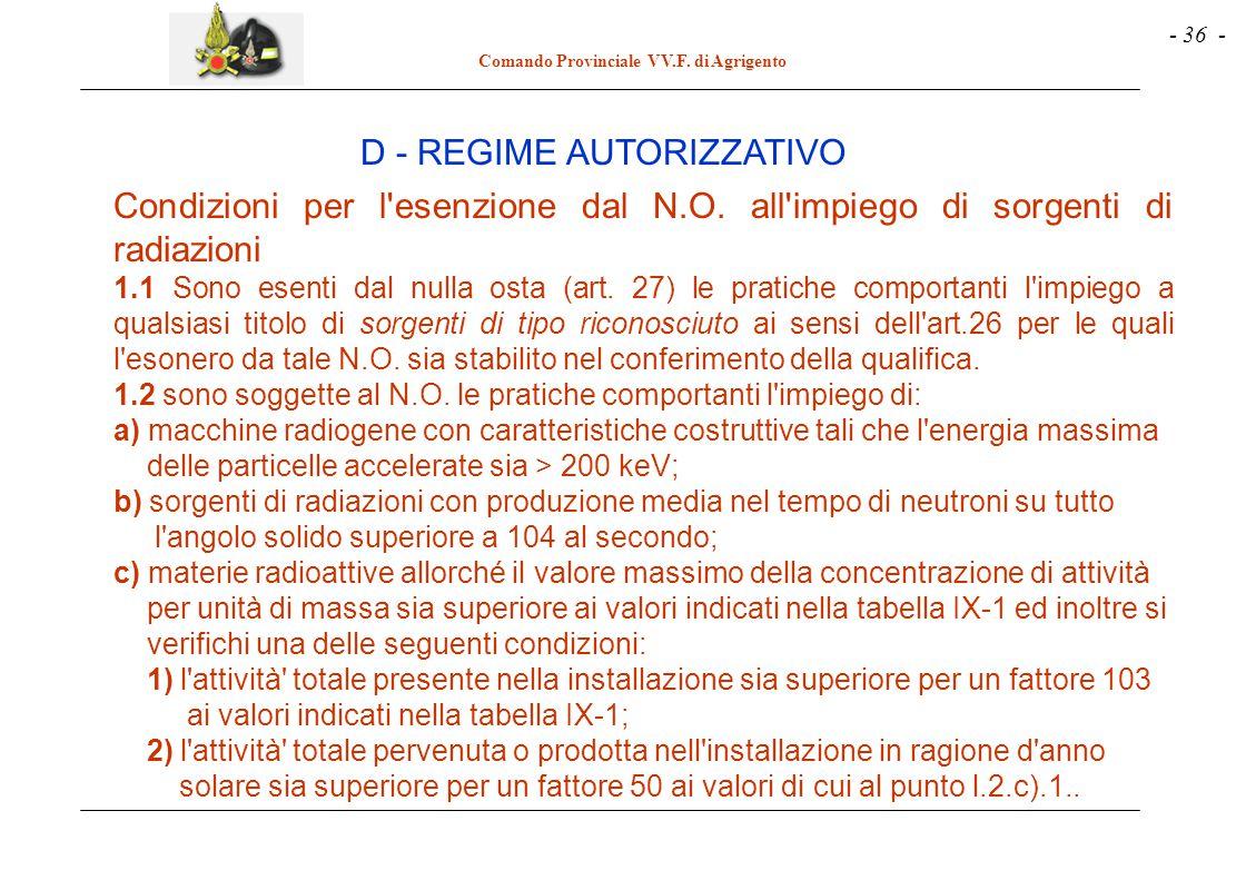 - 36 - Comando Provinciale VV.F. di Agrigento Condizioni per l'esenzione dal N.O. all'impiego di sorgenti di radiazioni 1.1 Sono esenti dal nulla osta