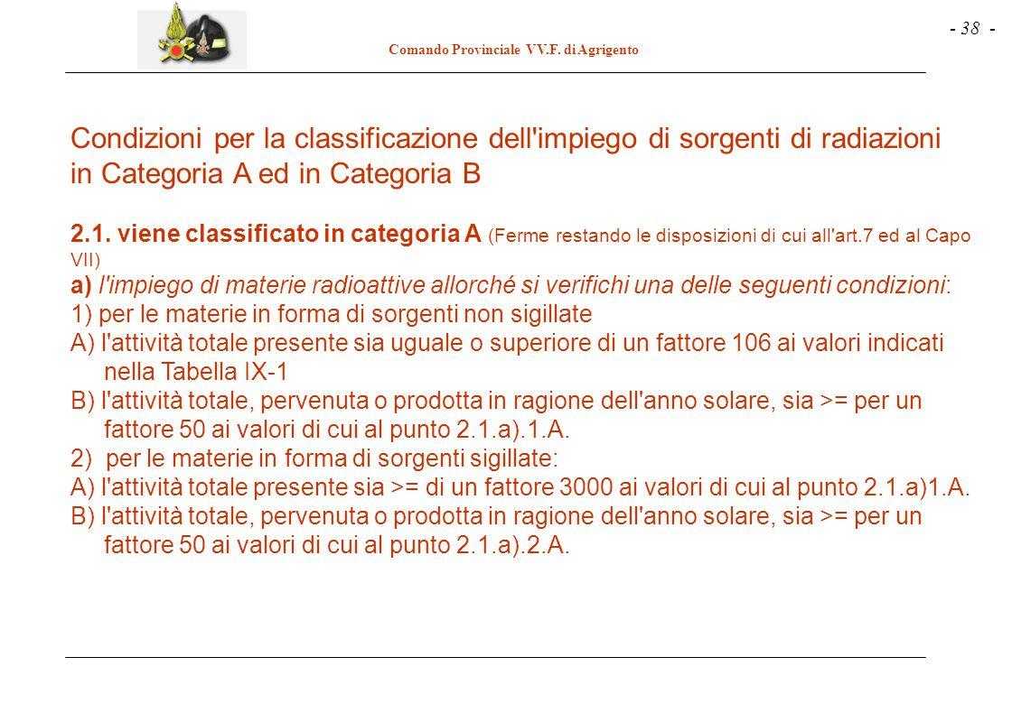- 38 - Comando Provinciale VV.F. di Agrigento Condizioni per la classificazione dell'impiego di sorgenti di radiazioni in Categoria A ed in Categoria