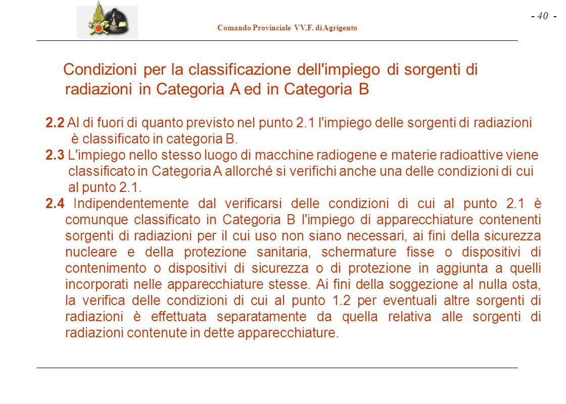 - 40 - Comando Provinciale VV.F. di Agrigento Condizioni per la classificazione dell'impiego di sorgenti di radiazioni in Categoria A ed in Categoria