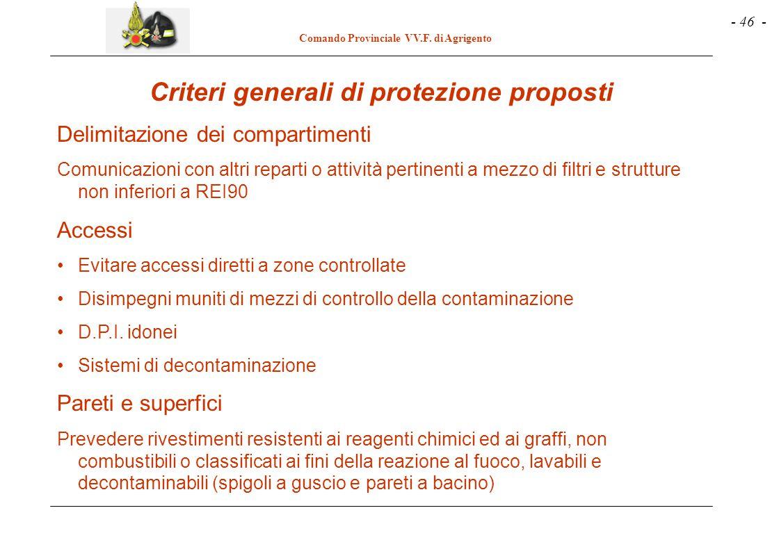 - 46 - Comando Provinciale VV.F. di Agrigento Criteri generali di protezione proposti Delimitazione dei compartimenti Comunicazioni con altri reparti