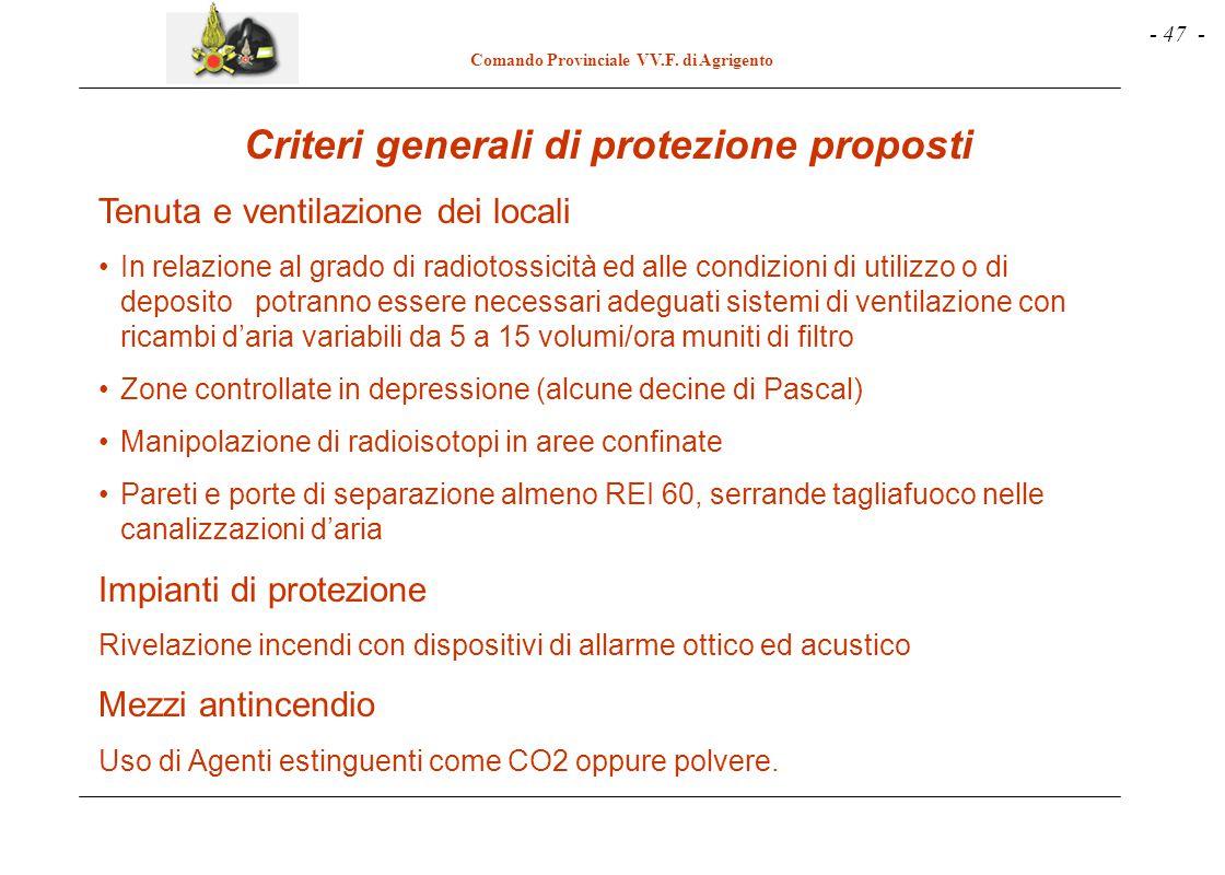- 47 - Comando Provinciale VV.F. di Agrigento Criteri generali di protezione proposti Tenuta e ventilazione dei locali In relazione al grado di radiot