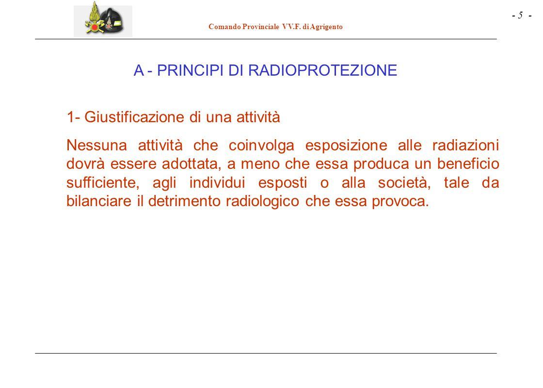 - 5 - Comando Provinciale VV.F. di Agrigento A - PRINCIPI DI RADIOPROTEZIONE 1- Giustificazione di una attività Nessuna attività che coinvolga esposiz