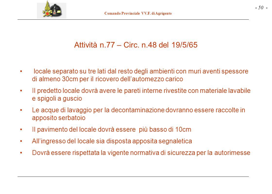 - 50 - Comando Provinciale VV.F.di Agrigento Attività n.77 – Circ.