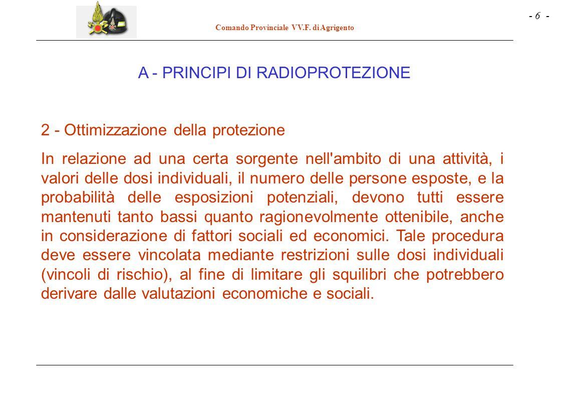 - 6 - Comando Provinciale VV.F. di Agrigento 2 - Ottimizzazione della protezione In relazione ad una certa sorgente nell'ambito di una attività, i val