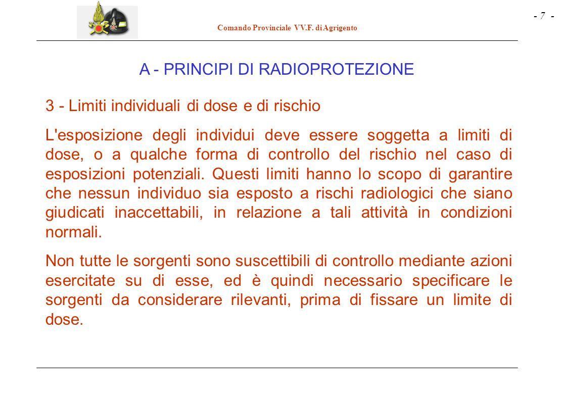 - 7 - Comando Provinciale VV.F. di Agrigento 3 - Limiti individuali di dose e di rischio L'esposizione degli individui deve essere soggetta a limiti d