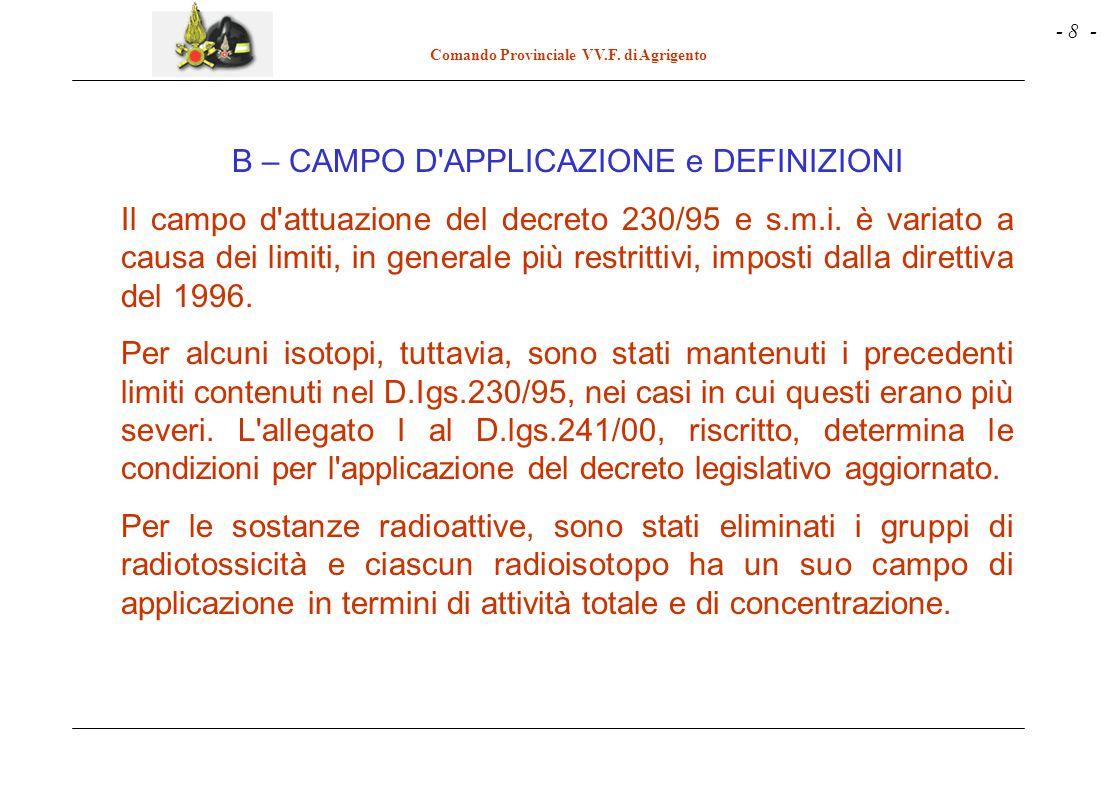 - 8 - Comando Provinciale VV.F. di Agrigento B – CAMPO D'APPLICAZIONE e DEFINIZIONI Il campo d'attuazione del decreto 230/95 e s.m.i. è variato a caus