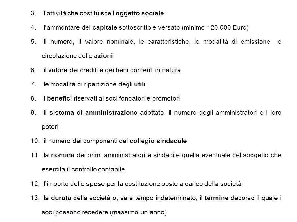 3.l'attività che costituisce l'oggetto sociale 4.