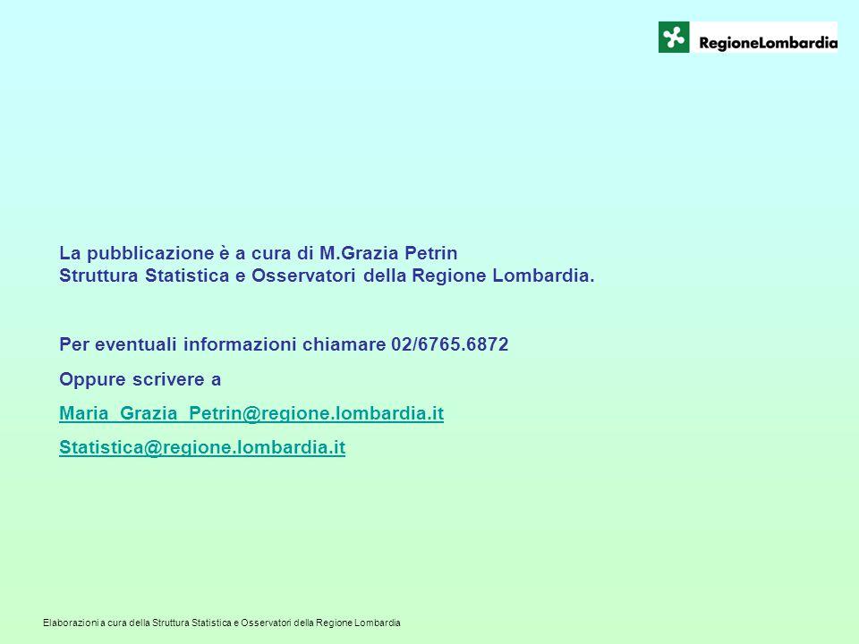 Elaborazioni a cura della Struttura Statistica e Osservatori della Regione Lombardia La pubblicazione è a cura di M.Grazia Petrin Struttura Statistica