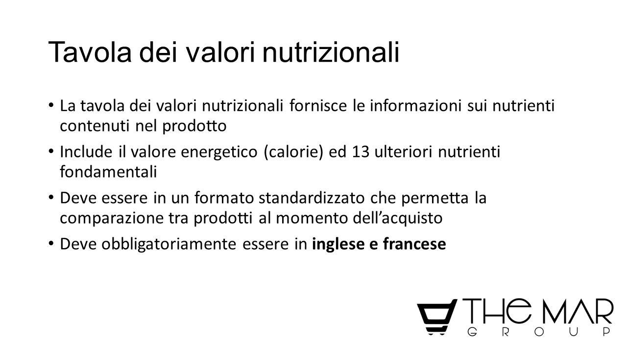 Tavola dei valori nutrizionali La tavola dei valori nutrizionali fornisce le informazioni sui nutrienti contenuti nel prodotto Include il valore energ