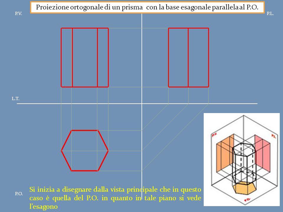 P.V.P.L. P.O. L.T. Proiezione ortogonale di un prisma con la base esagonale parallela al P.O. Si inizia a disegnare dalla vista principale che in ques