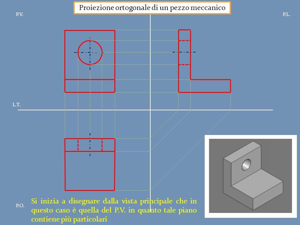 P.V.P.L. P.O. L.T. Proiezione ortogonale di un pezzo meccanico Si inizia a disegnare dalla vista principale che in questo caso è quella del P.V. in qu