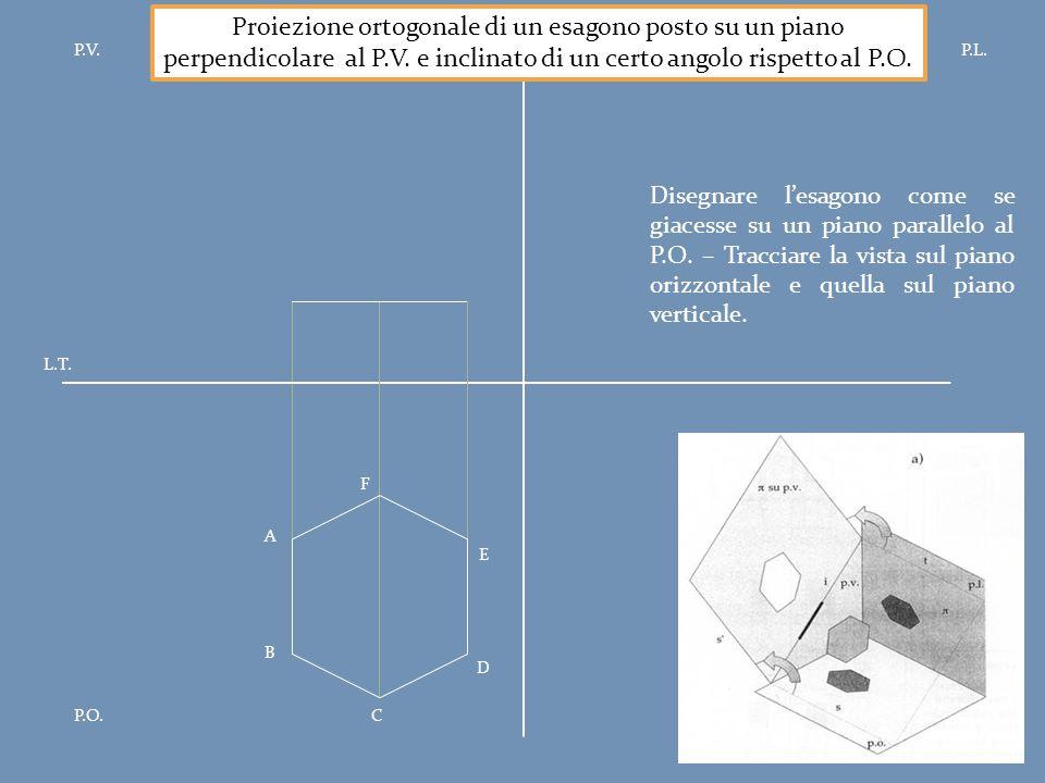 P.V.P.L. P.O. L.T. Proiezione ortogonale di un esagono posto su un piano perpendicolare al P.V. e inclinato di un certo angolo rispetto al P.O. A B F
