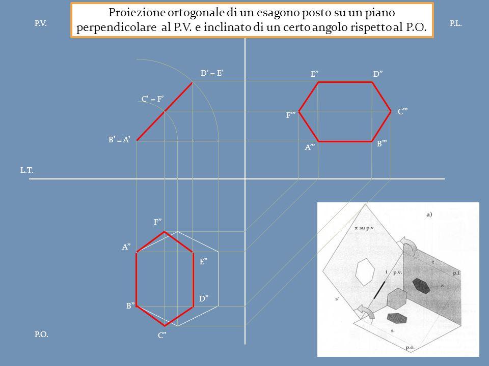 P.V.P.L. P.O. L.T. Proiezione ortogonale di un esagono posto su un piano perpendicolare al P.V. e inclinato di un certo angolo rispetto al P.O. B' = A