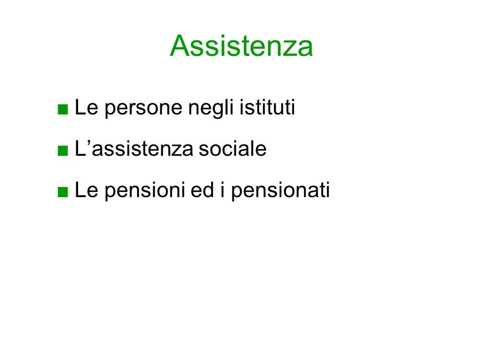 Assistenza ■Le persone negli istituti ■L'assistenza sociale ■Le pensioni ed i pensionati