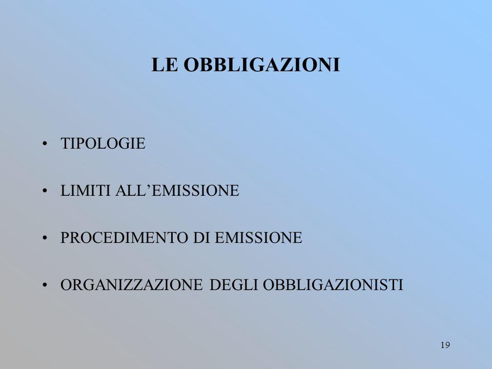 19 LE OBBLIGAZIONI TIPOLOGIE LIMITI ALL'EMISSIONE PROCEDIMENTO DI EMISSIONE ORGANIZZAZIONE DEGLI OBBLIGAZIONISTI