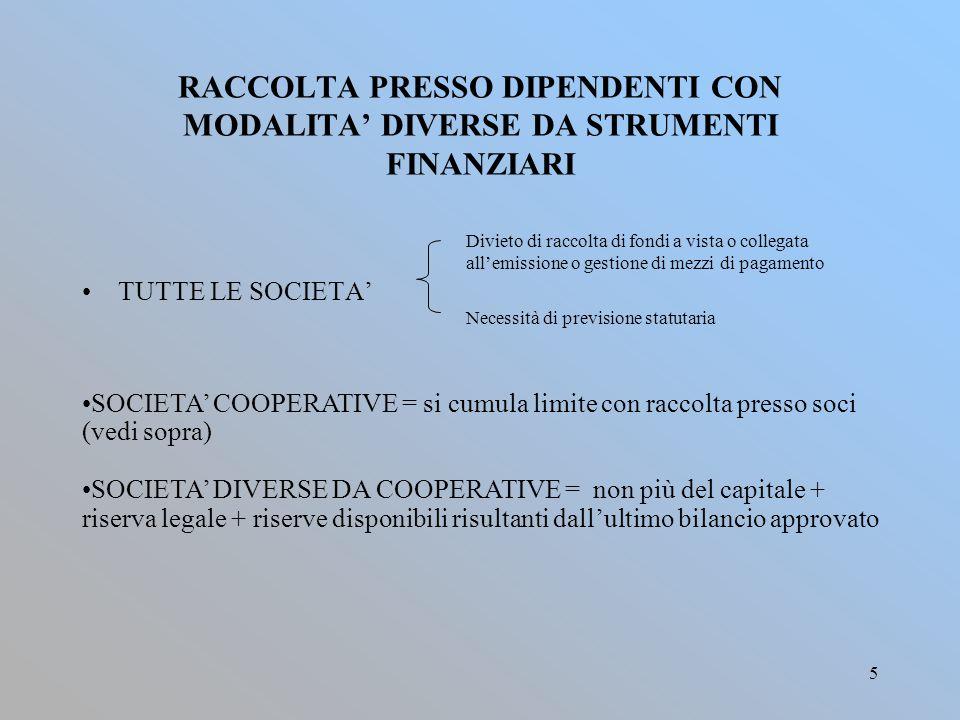 5 RACCOLTA PRESSO DIPENDENTI CON MODALITA' DIVERSE DA STRUMENTI FINANZIARI Divieto di raccolta di fondi a vista o collegata all'emissione o gestione d