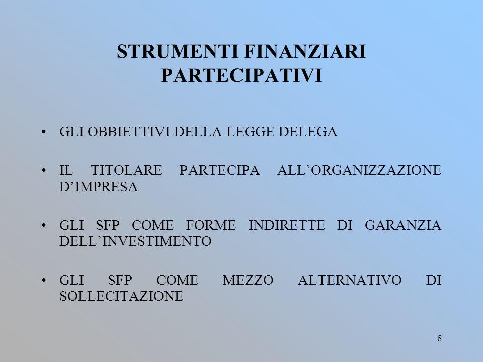 8 STRUMENTI FINANZIARI PARTECIPATIVI GLI OBBIETTIVI DELLA LEGGE DELEGA IL TITOLARE PARTECIPA ALL'ORGANIZZAZIONE D'IMPRESA GLI SFP COME FORME INDIRETTE DI GARANZIA DELL'INVESTIMENTO GLI SFP COME MEZZO ALTERNATIVO DI SOLLECITAZIONE