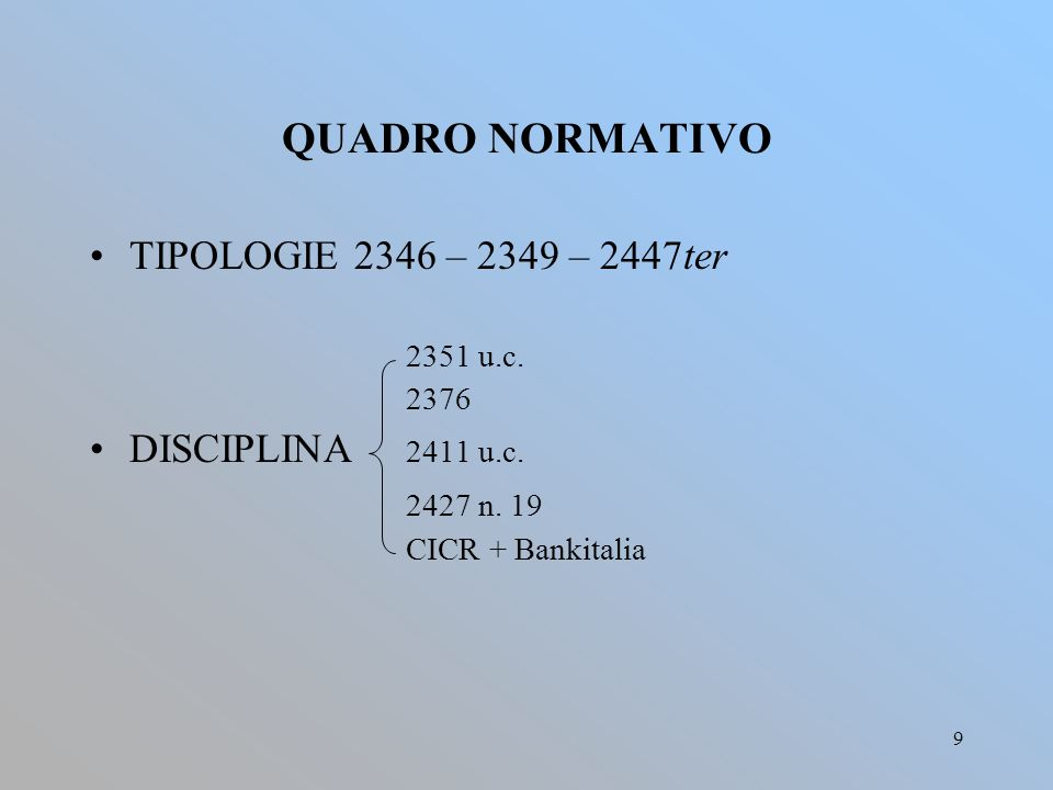 9 QUADRO NORMATIVO TIPOLOGIE 2346 – 2349 – 2447ter 2351 u.c.
