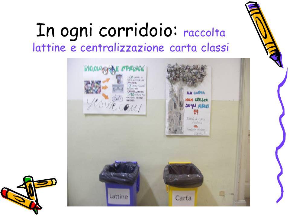 In ogni corridoio: raccolta lattine e centralizzazione carta classi