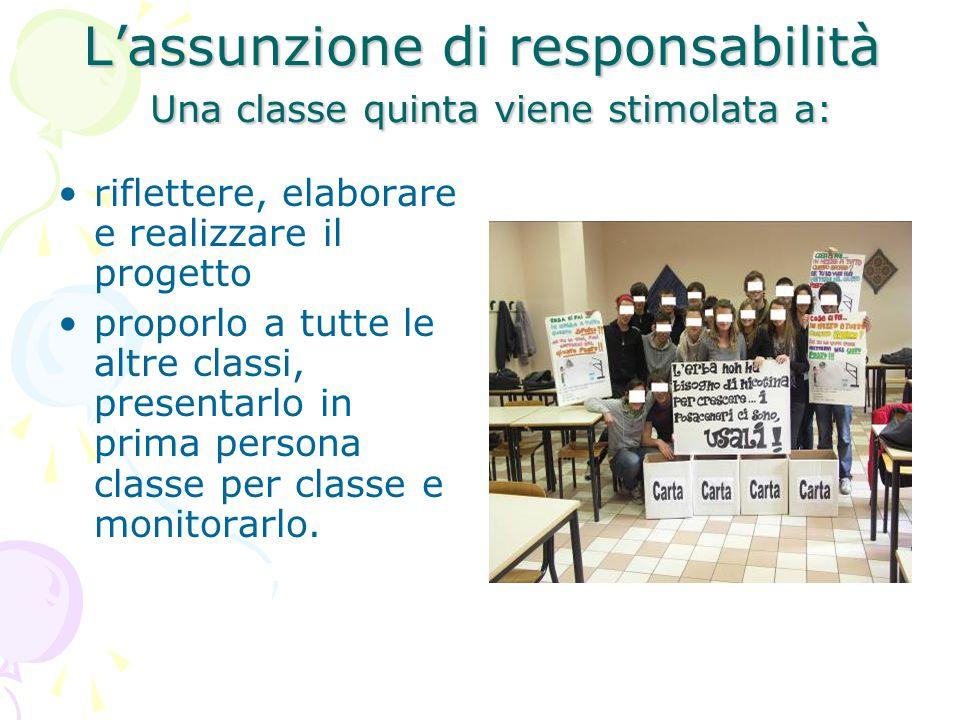L'assunzione di responsabilità Una classe quinta viene stimolata a: riflettere, elaborare e realizzare il progetto proporlo a tutte le altre classi, p