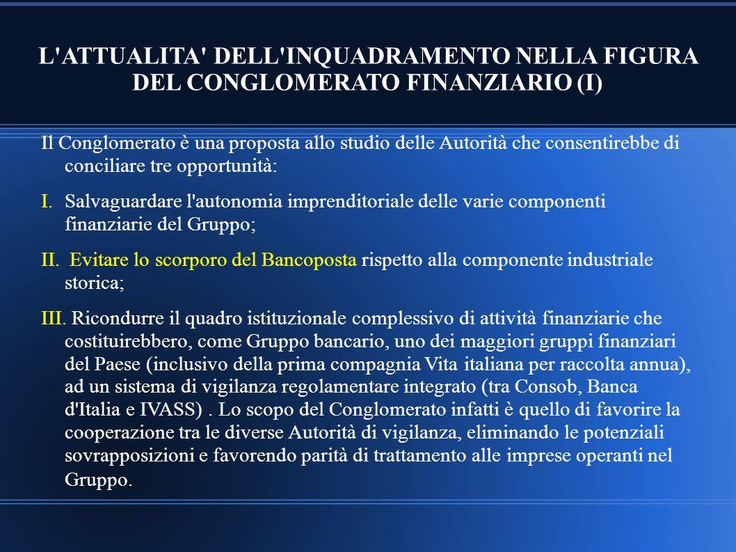 L'ATTUALITA' DELL'INQUADRAMENTO NELLA FIGURA DEL CONGLOMERATO FINANZIARIO (I) Il Conglomerato è una proposta allo studio delle Autorità che consentire